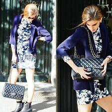 Zara Blue/Grey Floral Bodycon Dress Size LARGE BNWT