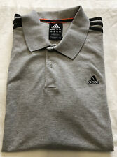 Mens Adidas Essentials Climalite 3 Stripe Polo Shirt T-Shirt - Grey - VGC