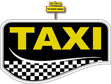 "Taxi Limo Yellow Cab Checker Cab For Hire Taxista Decal Sticker 3.5"" x 6.0"""