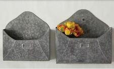 GALVANIZED METAL ENVELOPE WALL POCKET- SET OF 2-Letter Holder-Urban Farmhouse