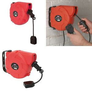 Sealey 10m Wall Mount RETRACTABLE CABLE REEL SYSTEM Extension Power Lead CRM101