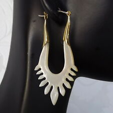 925 Sterling Silver Hook Bohemian Carved Shell Tribal Earrings Boho Chic Jewelry
