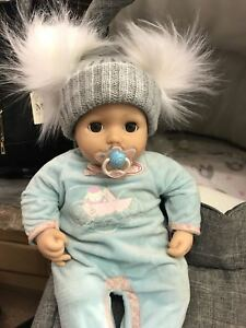baby babies CABLE DOUBLE BOBBLE HAT GREY boys girls winter hats 0-6M 6-12M
