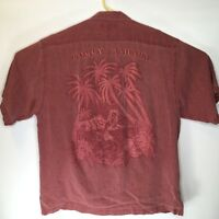 Tommy Bahama Mens Shirt Size Large 100% Silk Short Sleeve Red Floral Hawaiian