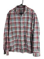 Eddie Bauer Button Down Shirt Mens XL Gray Red Plaid Long Sleeve 100% Cotton