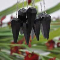 Black Tourmaline Crystal Pendulum With Silver Plated Chain, Energy Balancing