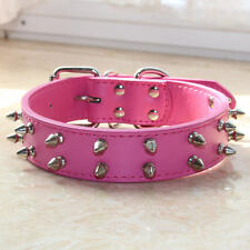 "Hot Pink Leather Pet Dog Collar 1.2"" Wide 2 Rows Spiked Studded Big Dog Collars"