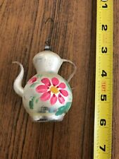 Antique Mercury Glass Tea Pot Christmas Tree Ornament painted flower