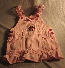 Pink Bib Overalls Dora Best Friends with Dark  Buttons Ruffled Straps & HEM 2T