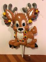 """Vintage Giftco Baby Reindeer Yard Stake Plastic Christmas Display - 10"""" x 7.5"""""""