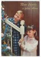 Tree Christmas Children in Pyjamas Card Tableware Vintage Years 60 70