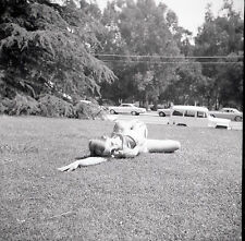 1960s Young Lady in Bikini Lying in the Grass - Vintage B&W Negative