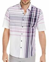Alfani Mens Shirt Classic Purple Size Large L Chest Stripe Button Down $55- #223