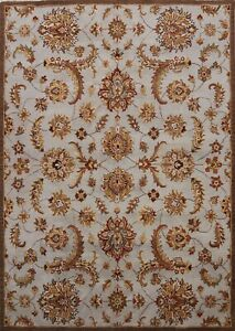 All-Over Floral Light Blue Agra Oriental Area Rug Hand-tufted Wool Carpet 8'x10'