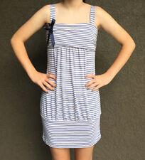 Stripe Nautical Tank Tunic Dress • Blue & Ivory Jersey Knit • Euro M Italy