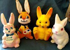 4 Vintage Toy Bunny Rabbit Coin Banks Squeaker Dream Pet Plush Hong Kong Japan