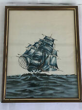 "VINTAGE SHIP PAINTING ON SILK 11""X14"" BLUE EXQUISITE DETAIL ART NAUTICAL VGC"