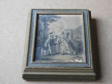 VINTAGE WOODEN JEWELRY TRINKET BOX WITH MIRROR AND PICTURE ON LID