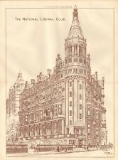 1885  ANTIQUE PRINT- ARCHITECTURE - LONDON - THE NATIONAL LIBERAL CLUB