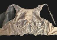 Victoria Secret Underwired Bra 34D  Neck Lace Underbust Rose Neutral