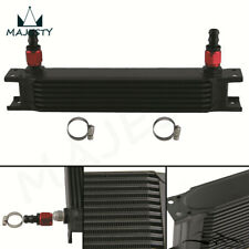 """7 Row 8AN Universal Engine Oil Cooler 3/4""""UNF16+2pcs AN8 Straight Fittings BK"""