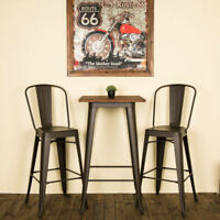 Glitzhome Rustic Metal Wood Top Dining Table Counter Bar Stool Side Chairs Set