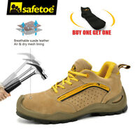 Safetoe Safety Shoes Mens Work Boots Steel Toe Leather Breathable Summer L-7296
