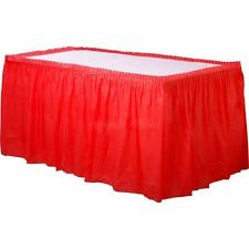 Solid Colour Plastic Table Skirt Fringe 14ft Birthday Party Decoration Tableware
