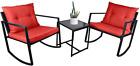3 Pieces Outdoor Patio Furniture Rattan Wicker Sectional Sofa Conversation Set
