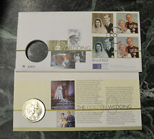 BUSTA FILATELICA MONETA WEDDING ELISABETH II PHILIP PRINCEPS 5 POUNDS 1947 1997