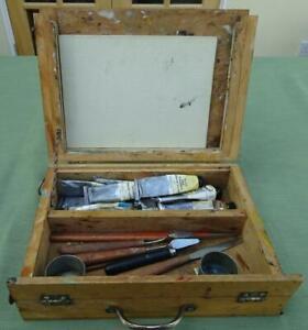 Vintage Wooden Artist's Paint Box with Paints, Palette & Tools