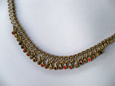Vintage Brass Tone Choker Necklace with Multi Color Rhinestones