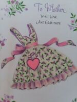 Vtg GLITTER APRON Pink HEART To MOTHER with Love & Gratitude GREETING CARD