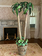 Vintage Miniature Dollhouse Artisan Tall Twin Palms Potted Ivy in Distressed Urn