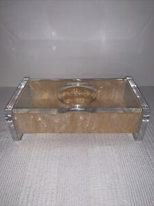 VTG MCM acrylic lucite pearl pink tissue box L&R Enterprises Inglewood, CA