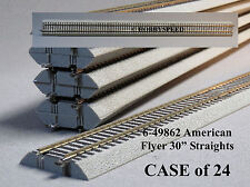 """LIONEL AMERICAN FLYER FASTRACK 30"""" STRAIGHT CASE (24) S Gauge 2 rail 6-49862 NEW"""