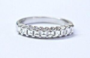 18Kt Asscher Cut Diamond White Gold Half Band Ring .30Ct