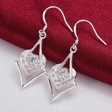 Women 925 Sterling Silver Crystal Love Heart 40 mm Drop Dangle Hook Earrings