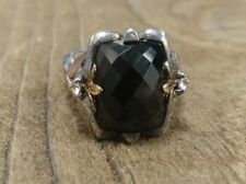 Ann King Sterling Silver 18K Yellow Gold Accents Onyx Ring Size 7.25