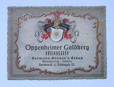 Oppenheim`er Goldberg ca. 1935 Weinetikett Winlabel Rheinhessen