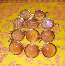 More details for rare  czech dragons breath glass, set of eleven buttons with clips.