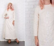 Vintage 60s Cream + White Floral Embroidered Dress A Line Maxi XS