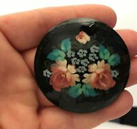 Vintage Estate Pin Brooch Wood Flowers Circle Russian Hand Made Painted Signed