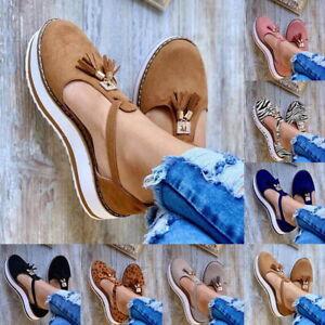 Women Close Toe Tassel Walking Platform Sandals Ladies Summer Holiday Shoes NEW