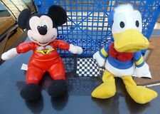"""DISNEY MOTOR RACER MICKEY MOUSE AND DONALD DUCK SOFT TOYS 9"""""""