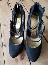 WOMENS PLATFORM SHOES BLACK FAUX SUEDE SIZE UK 6     #18
