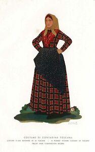 Stampa antica originale Costume di contadina toscana - Italy