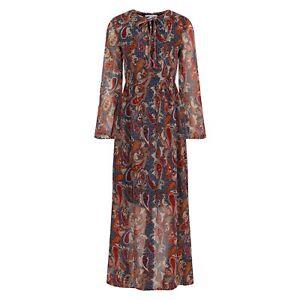 Diya Multicoloured Paisley Print Chiffon Long Sleeve Maxi Dress BNWT Size 8