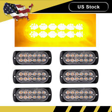 6PCS Amber Car 12 LED Emergency Strobe Light Kit Bar Beacon Hazard Flash Warning