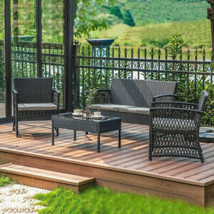 Refined Living Steel & Wicker Patio Set 4-Pc Cushions 3 colors Weather/UV Resist